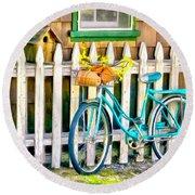 Aqua Antique Bicycle Along Fence Round Beach Towel