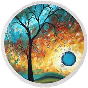 Aqua Burn By Madart Round Beach Towel