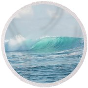 Aqua Cloudbreak Round Beach Towel by Brad Scott