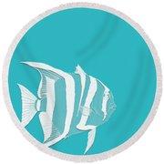 Aqua Fish  Round Beach Towel