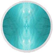 Aqua Light Phantom Round Beach Towel by Rachel Hannah