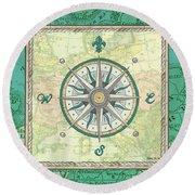 Aqua Maritime Compass Round Beach Towel