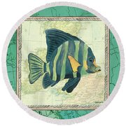 Aqua Maritime Fish Round Beach Towel