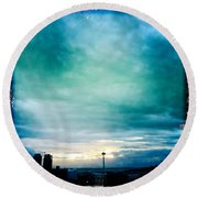 Aqua Needle Round Beach Towel