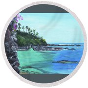 Round Beach Towel featuring the painting Aqua Passage by Judy Via-Wolff