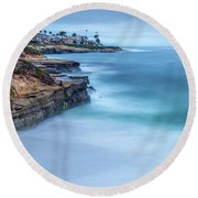 Aqua Round Beach Towel by Peter Tellone