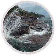 Round Beach Towel featuring the photograph Aqua Shore by James Peterson