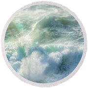 Round Beach Towel featuring the photograph Aqua Surge by Amy Weiss