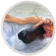 Aquamarine Sea Goddess Round Beach Towel