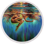 Aquarian Rebirth II Divine Feminine Consciousness Awakening Round Beach Towel