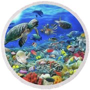 Aquarium Round Beach Towel