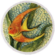 Aquarium On The Wall Round Beach Towel by Itzhak Richter