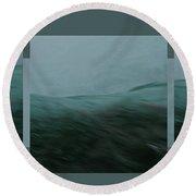 Aquascape Triptych - Round Beach Towel