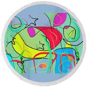 Aquatic Life Round Beach Towel