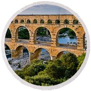Aqueduct Pont Du Gard Round Beach Towel