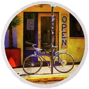Round Beach Towel featuring the photograph Aqueria Bicycle by Craig J Satterlee