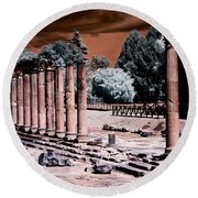 Round Beach Towel featuring the photograph Aquileia, Roman Forum by Helga Novelli