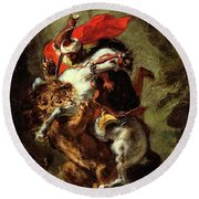 Round Beach Towel featuring the painting Arab Horseman Attacked By A Lion by Eugene Delacroix