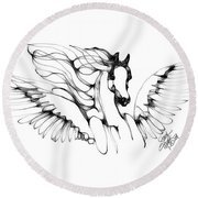 Arabian Angel Round Beach Towel