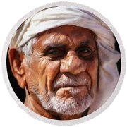 Arabian Old Man Round Beach Towel
