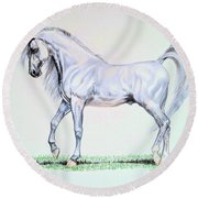Arabian Stallion  Round Beach Towel by Cheryl Poland