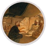 Arabs In The Desert Round Beach Towel by Frederick Goodall