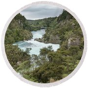 Round Beach Towel featuring the photograph Aratiatia Rapids by Gary Eason