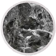 Arboretum Waterfall Bw Round Beach Towel by Richard J Cassato