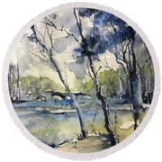 Arbres Bleus Round Beach Towel by Robin Miller-Bookhout