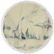 Arbres Round Beach Towel