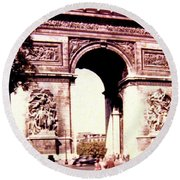Arc De Triomphe 1955 Round Beach Towel