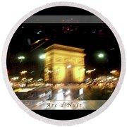 Arc De Triomphe By Bus Tour Greeting Card Poster V1 Round Beach Towel by Felipe Adan Lerma
