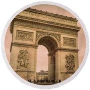 Arc De Triomphe Paris Round Beach Towel