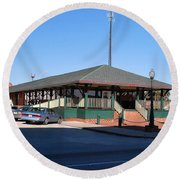 Round Beach Towel featuring the photograph Arcadia Train Station by Gary Wonning