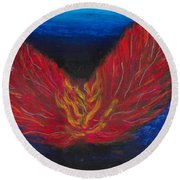 Round Beach Towel featuring the painting Arch Angel Gabrielle  by Ania M Milo