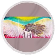 Arch Angel Michael Round Beach Towel