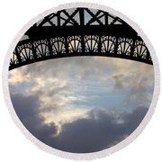 Round Beach Towel featuring the photograph Arch At The Eiffel Tower by Heidi Hermes
