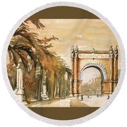 Round Beach Towel featuring the painting Arch- Barcelona, Spain by Ryan Fox