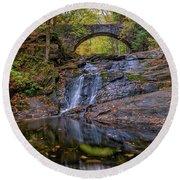 Round Beach Towel featuring the photograph Arch Bridge In Autumn by Rick Berk