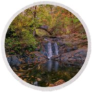 Round Beach Towel featuring the photograph Arch Bridge In Vaughan Woods by Rick Berk
