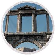 Arch Of Hadrian Round Beach Towel