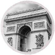 Arch Of Triumph - Paris - Black And White Round Beach Towel