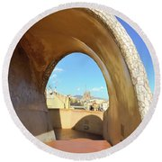 Round Beach Towel featuring the photograph Arch On The Rooftop Of The Casa Mila by Colleen Kammerer