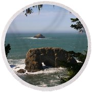 Round Beach Towel featuring the photograph Arch Rock View by Marie Neder
