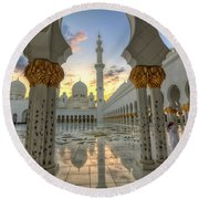 Arch Sunset Temple Round Beach Towel