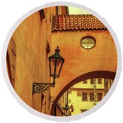 Round Beach Towel featuring the photograph Arch Way In Old Town. Series Golden Prague by Jenny Rainbow