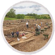 Archaeologists At Work At Roman Vindolanda Round Beach Towel