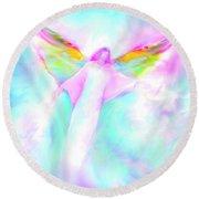 Archangel Gabriel In Flight Round Beach Towel