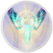 Archangel Uriel - Pastel Round Beach Towel