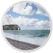 Arch At Etretat Beach, Normandie Round Beach Towel by Yoel Koskas